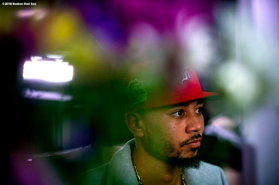 NASHVILLE, TN - NOVEMBER 15: Mookie Betts #50 of the Boston Red Sox looks on during the 2018 American League Most Valuable Player announcement on November 15, 2018 in Nashville, Tennessee. (Photo by Billie Weiss/Boston Red Sox/Getty Images) *** Local Caption *** Mookie Betts