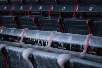 January 5, 2018, Boston, MA: Icicles form on the grandstand seats after the Bomb Cyclone winter storm Grayson at Fenway Park in Boston, Massachusetts Friday, January 5, 2018. (Photo by Billie Weiss/Boston Red Sox)