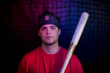 FT. MYERS, FL - FEBRUARY 13: Andrew Benintendi #16 of the Boston Red Sox poses for a portrait during a team workout on February 13, 2018 at Fenway South in Fort Myers, Florida . (Photo by Billie Weiss/Boston Red Sox/Getty Images) *** Local Caption *** Andrew Benintendi