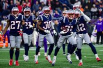 FOXBOROUGH, MA - DECEMBER 02: Jonathan Jones #31 of the New England Patriots celebrates with teammates after intercepting a pass during the fourth quarter against the Minnesota Vikings at Gillette Stadium on December 2, 2018 in Foxborough, Massachusetts. (Photo by Billie Weiss/Getty Images)