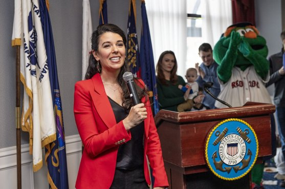 January 28, 2019 , Boston, MA: Red Sox Foundation Board Member Linda Pizzuti Henry speaks during an appreciation luncheon for close to 500 Massachusetts Coast Guard members and their families as a way to thank them for their service during the partial government shutdown at the Coast Guard Base in Boston, Massachusetts Monday, January 28, 2019. (Photo by Billie Weiss/Boston Red Sox)