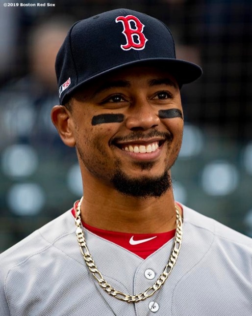 SEATTLE, WA - MARCH 28: Mookie Betts #50 of the Boston Red Sox reacts before the 2019 Opening day game against the Seattle Mariners at T-Mobile Park in Seattle, Washington on March 28, 2019. (Photo by Billie Weiss/Boston Red Sox/Getty Images) *** Local Caption *** Mookie Betts