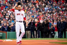 BOSTON, MA - APRIL 9: David Price #24 of the Boston Red Sox is introduced during a 2018 World Series championship ring ceremony before the Opening Day game against the Toronto Blue Jays on April 9, 2019 at Fenway Park in Boston, Massachusetts. (Photo by Billie Weiss/Boston Red Sox/Getty Images) *** Local Caption *** David Price