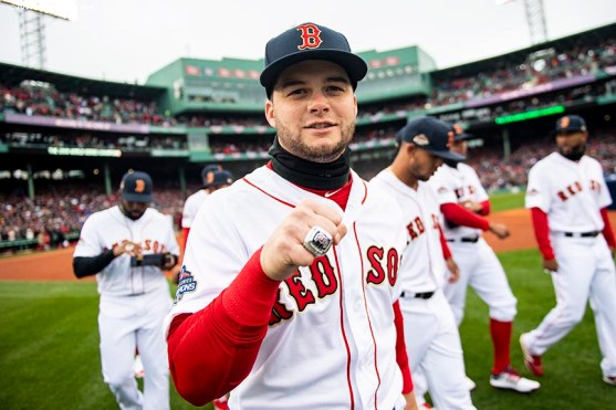 BOSTON, MA - APRIL 9: Andrew Benintendi #16 of the Boston Red Sox poses with his ring during a 2018 World Series championship ring ceremony before the Opening Day game against the Toronto Blue Jays on April 9, 2019 at Fenway Park in Boston, Massachusetts. (Photo by Billie Weiss/Boston Red Sox/Getty Images) *** Local Caption *** Andrew Benintendi