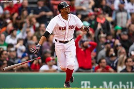 BOSTON, MA - APRIL 14: Xander Bogaerts #2 of the Boston Red Sox hits a three run home run during the eighth inning of a game against the Baltimore Orioles on April 14, 2019 at Fenway Park in Boston, Massachusetts. (Photo by Billie Weiss/Boston Red Sox/Getty Images) *** Local Caption *** Xander Bogaerts