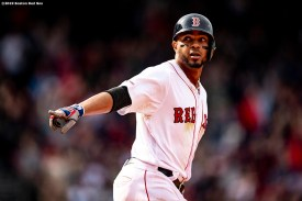BOSTON, MA - APRIL 14: Xander Bogaerts #2 of the Boston Red Sox reacts after hitting a three run home run during the eighth inning of a game against the Baltimore Orioles on April 14, 2019 at Fenway Park in Boston, Massachusetts. (Photo by Billie Weiss/Boston Red Sox/Getty Images) *** Local Caption *** Xander Bogaerts