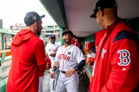BOSTON, MA - APRIL 15: Dustin Pedroia #15 of the Boston Red Sox reacts before a game against the Baltimore Orioles on April 15, 2019 at Fenway Park in Boston, Massachusetts. (Photo by Billie Weiss/Boston Red Sox/Getty Images) *** Local Caption *** Dustin Pedroia
