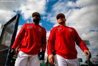 BOSTON, MA - APRIL 24: Jackie Bradley Jr. #19 and Christian Vazquez #7 of the Boston Red Sox walk off the field before a game against the Detroit Tigers on April 24, 2019 at Fenway Park in Boston, Massachusetts. (Photo by Billie Weiss/Boston Red Sox/Getty Images) *** Local Caption *** Jackie Bradley Jr.; Christian Vazquez