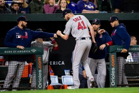 BALTIMORE, MD - MAY 8: Chris Sale #41 of the Boston Red Sox high fives teammates during the eighth inning of a game against the Baltimore Orioles on May 8, 2019 at Oriole Park at Camden Yards in Baltimore, Maryland. (Photo by Billie Weiss/Boston Red Sox/Getty Images) *** Local Caption *** Chris Sale
