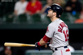 BALTIMORE, MD - MAY 8: Andrew Benintendi #16 of the Boston Red Sox hits a go ahead solo home run. during the twelfth inning of a game against the Baltimore Orioles on May 8, 2019 at Oriole Park at Camden Yards in Baltimore, Maryland. (Photo by Billie Weiss/Boston Red Sox/Getty Images) *** Local Caption *** Andrew Benintendi