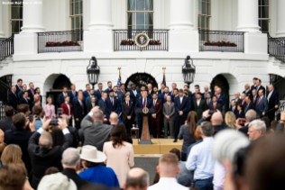 WASHINGTON, DC - MAY 9: U.S. President Donald Trump speaks as he welcomes members of the Boston Red Sox during a visit to the White House in recognition of the 2018 World Series championship on May 9, 2019 in Washington, DC. (Photo by Billie Weiss/Boston Red Sox/Getty Images) *** Local Caption *** Donald Trump