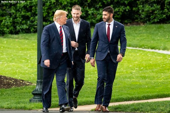 WASHINGTON, DC - MAY 9: U.S. President Donald Trump walks with J.D. Martinez #28 and Chris Sale #41 of the Boston Red Sox during a visit to the White House in recognition of the 2018 World Series championship on May 9, 2019 in Washington, DC. (Photo by Billie Weiss/Boston Red Sox/Getty Images) *** Local Caption *** Chris Sale; Donald Trump; J.D. Martinez