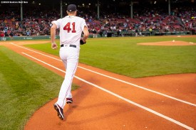 BOSTON, MA - MAY 14: Chris Sale #41 of the Boston Red Sox runs onto the field before a game against the Colorado Rockies on May 14, 2019 at Fenway Park in Boston, Massachusetts. (Photo by Billie Weiss/Boston Red Sox/Getty Images) *** Local Caption *** Chris Sale