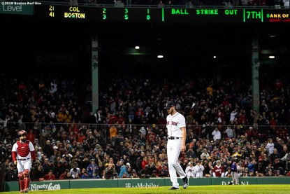 BOSTON, MA - MAY 14: Chris Sale #41 of the Boston Red Sox exits the game during the seventh inning of a game against the Colorado Rockies on May 14, 2019 at Fenway Park in Boston, Massachusetts. (Photo by Billie Weiss/Boston Red Sox/Getty Images) *** Local Caption *** Chris Sale
