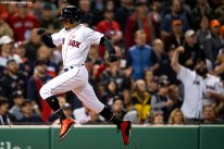 BOSTON, MA - MAY 18: Mookie Betts #50 of the Boston Red Sox scores during the fourth inning of a game against the Houston Astros on May 18, 2019 at Fenway Park in Boston, Massachusetts. (Photo by Billie Weiss/Boston Red Sox/Getty Images) *** Local Caption *** Mookie Betts