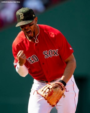 BOSTON, MA - MAY 19: Xander Bogaerts #2 of the Boston Red Sox reacts after turning a double play during the sixth inning of a game against the Houston Astros on May 19, 2019 at Fenway Park in Boston, Massachusetts. (Photo by Billie Weiss/Boston Red Sox/Getty Images) *** Local Caption *** Xander Bogaerts