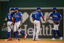 BOSTON, MA - JUNE 10: Members of the Texas Rangers celebrate a victory against the Boston Red Sox on June 10, 2019 at Fenway Park in Boston, Massachusetts. (Photo by Billie Weiss/Boston Red Sox/Getty Images) *** Local Caption ***