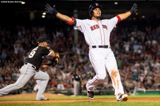BOSTON, MA - JUNE 24: Marco Hernandez #40 of the Boston Red Sox reacts as he crosses first base safely after hitting the game winning walk-off infield single during the ninth inning of a game against the Chicago White Sox on June 24, 2019 at Fenway Park in Boston, Massachusetts. (Photo by Billie Weiss/Boston Red Sox/Getty Images) *** Local Caption *** Marco Hernandez