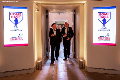 LONDON, ENGLAND - JUNE 27: Boston Red Sox Chairman Tom Werner and Brigadier General Jack Hammond attend the Mission Gratitude Gala in Cooperation with Home Base and the Red Sox Foundation ahead of the 2019 Major League Baseball London Series on June 27, 2019 at Kensington Palace in London, England. (Photo by Billie Weiss/Boston Red Sox/Getty Images) *** Local Caption *** Tom Werner; Jack Hammond