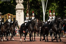 LONDON, ENGLAND - JUNE 28 : The changing of the guards takes place during a photo opportunity with Manager Aaron Boone of the New York Yankees and and Manager Alex Cora of the Boston Red Sox at Buckingham Palace ahead of the 2019 Major League Baseball London Series on June 28, 2019 in London, England. (Photo by Billie Weiss/Boston Red Sox/Getty Images) *** Local Caption ***