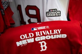 LONDON, ENGLAND - JUNE 28 : Gear is displayed in the Boston Red Sox clubhouse during a team workout ahead of the 2019 Major League Baseball London Series on June 28, 2019 at West Ham London Stadium in London, England. (Photo by Billie Weiss/Boston Red Sox/Getty Images) *** Local Caption ***