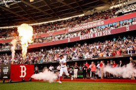 LONDON, ENGLAND - JUNE 29 : Xander Bogaerts #2 of the Boston Red Sox is introduced before game one of the 2019 Major League Baseball London Series against the New York Yankees on June 29, 2019 at West Ham London Stadium in London, England. (Photo by Billie Weiss/Boston Red Sox/Getty Images) *** Local Caption *** Xander Bogaerts