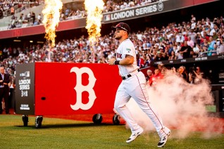 LONDON, ENGLAND - JUNE 29 : Xander Bogaerts #2 of the Boston Red Sox is introduced before game one of the 2019 Major League Baseball London Series against the New York Yankees on June 29, 2019 at West Ham London Stadium in London, England. (Photo by Billie Weiss/Boston Red Sox/Getty Images) *** Local Caption *** Michael Chavis