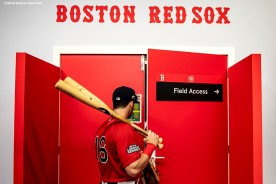 LONDON, ENGLAND - JUNE 30: Andrew Benintendi #16 of the Boston Red Sox exits the clubhouse before game two of the 2019 Major League Baseball London Series against the New York Yankees on June 30, 2019 at West Ham London Stadium in London, England. (Photo by Billie Weiss/Boston Red Sox/Getty Images) *** Local Caption *** Andrew Benintendi