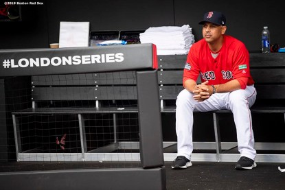 LONDON, ENGLAND - JUNE 30: Manager Alex Cora of the Boston Red Sox looks on before game two of the 2019 Major League Baseball London Series against the New York Yankees on June 30, 2019 at West Ham London Stadium in London, England. (Photo by Billie Weiss/Boston Red Sox/Getty Images) *** Local Caption *** Alex Cora