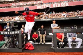 LONDON, ENGLAND - JUNE 30: Jackie Bradley Jr. #19 of the Boston Red Sox leaps as he runs onto the field before game two of the 2019 Major League Baseball London Series against the New York Yankees on June 30, 2019 at West Ham London Stadium in London, England. (Photo by Billie Weiss/Boston Red Sox/Getty Images) *** Local Caption *** Jackie Bradley Jr.