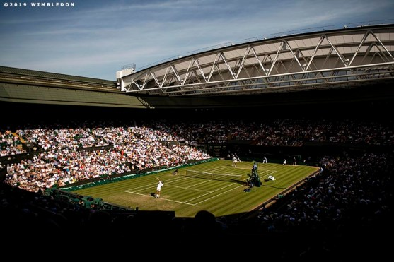 July 4, 2019 , Wimbledon, England: Rafael Nadal in action during a second round match against Rafael Nadal on Centre Court during day 4 of the 2019 Championships Wimbledon at the All England Lawn Tennis Club in Wimbledon, England Thursday, July 4, 2019. (Photo by Billie Weiss/Wimbledon)