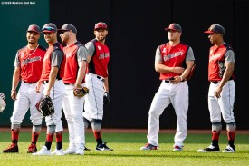 CLEVELAND, OH - JULY 08: Members of the American League team look on before the T-Mobile Home Run Derby during the 2019 Major League Baseball All-Star Game at Progressive Field on July 8, 2019 in Cleveland, Ohio. (Photo by Billie Weiss/Boston Red Sox/Getty Images) *** Local Caption ***