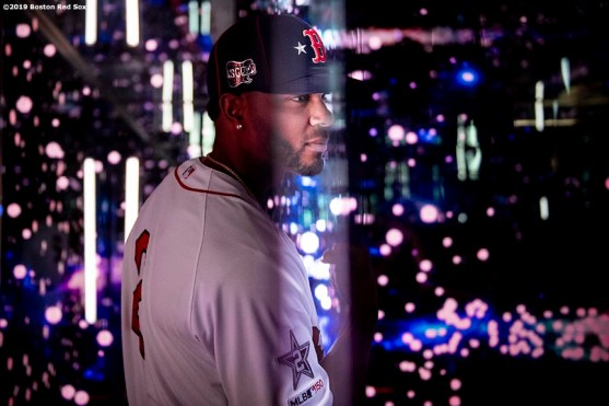 CLEVELAND, OH - JULY 08: Xander Bogaerts #2 of the Boston Red Sox poses for a portrait before the T-Mobile Home Run Derby during the 2019 Major League Baseball All-Star Game at Progressive Field on July 8, 2019 in Cleveland, Ohio. (Photo by Billie Weiss/Boston Red Sox/Getty Images) *** Local Caption *** Xander Bogaerts