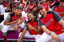 CLEVELAND, OH - JULY 08: Mookie Betts #50, Xander Bogaerts #2, and J.D. Martinez #28 of the Boston Red Sox pose for a photograph during the T-Mobile Home Run Derby during the 2019 Major League Baseball All-Star Game at Progressive Field on July 8, 2019 in Cleveland, Ohio. (Photo by Billie Weiss/Boston Red Sox/Getty Images) *** Local Caption *** Mookie Betts; Xander Bogaerts; J.D. Martinez