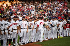 CLEVELAND, OH - JULY 09: J.D. Martinez #28 of the Boston Red Sox high fives teammates as he is introduced before the 2019 Major League Baseball All-Star Game at Progressive Field on July 9, 2019 in Cleveland, Ohio. (Photo by Billie Weiss/Boston Red Sox/Getty Images) *** Local Caption *** J.D. Martinez