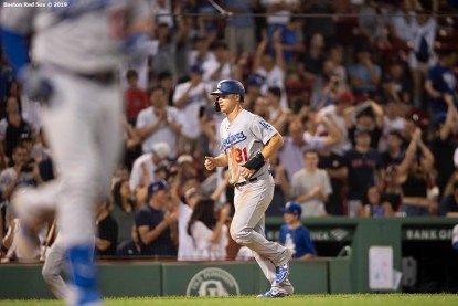 BOSTON, MA - JULY 14: Joe Pederson #31 of the Los Angeles Dodgers advances home on a walk to score the go ahead run during the twelfth inning of game against the Boston Red Sox on July 14, 2019 at Fenway Park in Boston, Massachusetts. (Photo by Billie Weiss/Boston Red Sox/Getty Images) *** Local Caption *** Joc Pederson