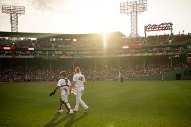 BOSTON, MA - JULY 16: Andrew Cashner #48 of the Boston Red Sox exits the bullpen with Christian Vazquez #7 before his Boston Red Sox debut game against the Toronto Blue Jays on July 16, 2019 at Fenway Park in Boston, Massachusetts. (Photo by Billie Weiss/Boston Red Sox/Getty Images) *** Local Caption *** Andrew Cashner; Christian Vazquez