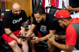 BOSTON, MA - JULY 17: Sandy Leon #3 and Eduardo Rodriguez #57 of the Boston Red Sox view an iPad before a game against the Toronto Blue Jays on July 17, 2019 at Fenway Park in Boston, Massachusetts. (Photo by Billie Weiss/Boston Red Sox/Getty Images) *** Local Caption *** Sandy Leon; Eduardo Rodriguez