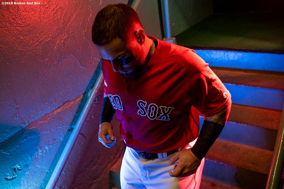 BOSTON, MA - JULY 27: Christian Vazquez #7 of the Boston Red Sox walks down the stairs before a game against the New York Yankees on July 27, 2019 at Fenway Park in Boston, Massachusetts. (Photo by Billie Weiss/Boston Red Sox/Getty Images) *** Local Caption *** Christian Vazquez
