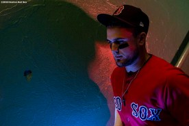 BOSTON, MA - JULY 27: Michael Chavis #23 of the Boston Red Sox walks down the stairs before a game against the New York Yankees on July 27, 2019 at Fenway Park in Boston, Massachusetts. (Photo by Billie Weiss/Boston Red Sox/Getty Images) *** Local Caption *** Michael Chavis