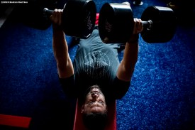 BOSTON, MA - JULY 28: J.D. Martinez #28 of the Boston Red Sox lifts weights in the weight room before a game against the New York Yankees on July 28, 2019 at Fenway Park in Boston, Massachusetts. (Photo by Billie Weiss/Boston Red Sox/Getty Images) *** Local Caption *** J.D. Martinez