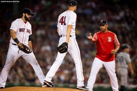 BOSTON, MA - JULY 28: Chris Sale #41 of the Boston Red Sox hands the ball to manager Alex Cora as he exits the game during the sixth inning of a game against the New York Yankees on July 28, 2019 at Fenway Park in Boston, Massachusetts. (Photo by Billie Weiss/Boston Red Sox/Getty Images) *** Local Caption *** Chris Sale; Alex Cora