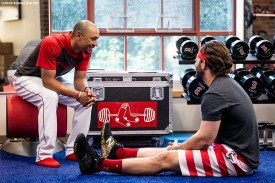 BOSTON, MA - JULY 31: Mookie Betts #50 talks with Mitch Moreland #18 of the Boston Red Sox before a game against the Tampa Bay Rays on July 31, 2019 at Fenway Park in Boston, Massachusetts. (Photo by Billie Weiss/Boston Red Sox/Getty Images) *** Local Caption *** Mookie Betts; Mitch Moreland