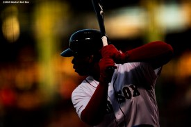 BOSTON, MA - AUGUST 5: Rafael Devers #11 of the Boston Red Sox bats during the first inning of a game against the Kansas City Royals on August 5, 2019 at Fenway Park in Boston, Massachusetts. (Photo by Billie Weiss/Boston Red Sox/Getty Images) *** Local Caption *** Rafael Devers