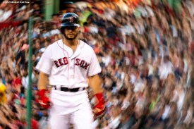 BOSTON, MA - AUGUST 5: Andrew Benintendi #16 of the Boston Red Sox reacts during the first inning of a game against the Kansas City Royals on August 5, 2019 at Fenway Park in Boston, Massachusetts. (Photo by Billie Weiss/Boston Red Sox/Getty Images) *** Local Caption *** Andrew Benintendi