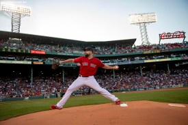 BOSTON, MA - AUGUST 9: Brian Johnson #61 of the Boston Red Sox warms up before a game against the Los Angeles Angels of Anaheim on August 9, 2019 at Fenway Park in Boston, Massachusetts. (Photo by Billie Weiss/Boston Red Sox/Getty Images) *** Local Caption *** Brian Johnson