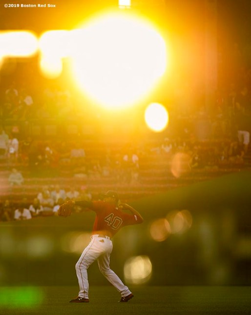 BOSTON, MA - AUGUST 16: Marco Hernandez #40 of the Boston Red Sox warms up before a game against the Baltimore Orioles on August 16, 2019 at Fenway Park in Boston, Massachusetts. (Photo by Billie Weiss/Boston Red Sox/Getty Images) *** Local Caption *** Marco Hernandez