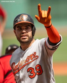 BOSTON, MA - AUGUST 18: Renato Nunez #39 of the Baltimore Orioles reacts after hitting a three run home run during the first inning of a game against the Boston Red Sox on August 18, 2019 at Fenway Park in Boston, Massachusetts. (Photo by Billie Weiss/Boston Red Sox/Getty Images) *** Local Caption *** Renato Nunez