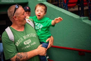 BOSTON, MA - AUGUST 22: Fans enter the park before the continuation of a game between Boston Red Sox and the Kansas City Royals on August 22, 2019 at Fenway Park in Boston, Massachusetts. The original game was suspended due to weather on August 7 in the top of the 10th inning with a tied score of 4-4. (Photo by Billie Weiss/Boston Red Sox/Getty Images) *** Local Caption ***