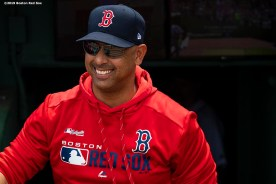 BOSTON, MA - AUGUST 22: Manager Alex Cora of the Boston Red Sox reacts before a game against the Kansas City Royals on August 22, 2019 at Fenway Park in Boston, Massachusetts. The game is the completion of the game that was suspended due to weather on August 7 in the top of the 10th inning with a tied score of 4-4. (Photo by Billie Weiss/Boston Red Sox/Getty Images) *** Local Caption ***
